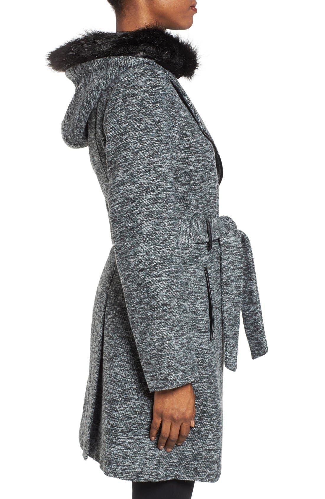 Alternate Image 3  - Steve Madden Asymmetrical Hooded Coat with Faux Fur Trim