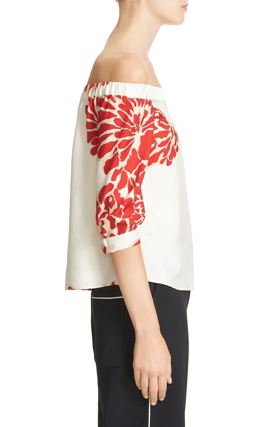 Alternate Image 4  - Tibi Orla Bloom Silk Off the Shoulder Top