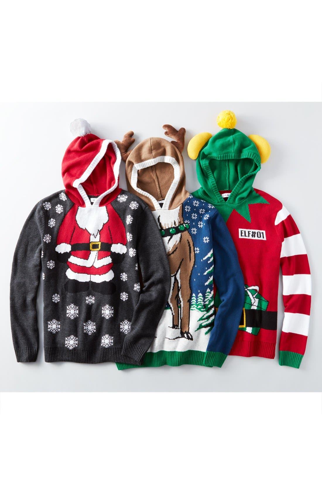 Alternate Image 6  - The Rail Reindeer Intarsia Hooded Sweater