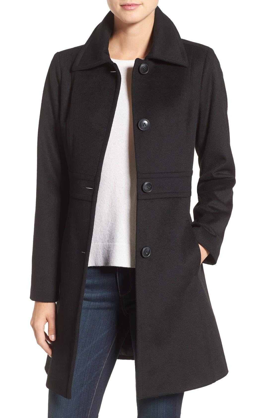 Main Image - Kristen Blake Wool Blend Walking Coat (Regular & Petite)
