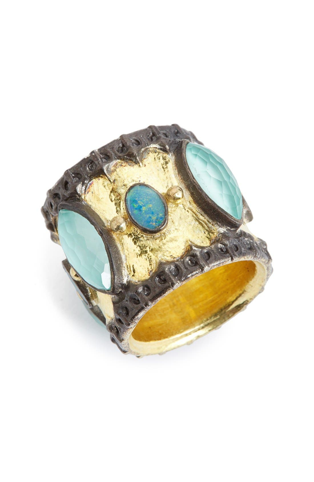 ARMENTA Old World Semiprecious Stone Cigar Band Ring
