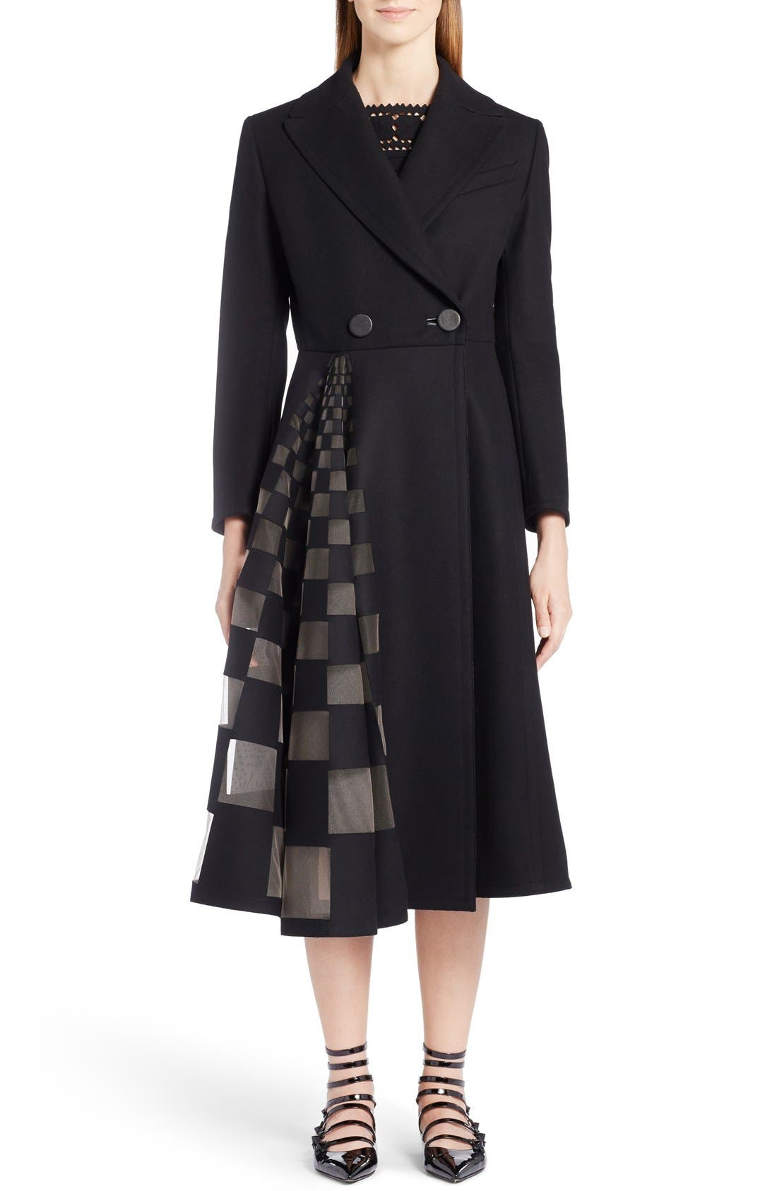 FENDI Tulle Inset Stretch Wool & Cashmere Coat