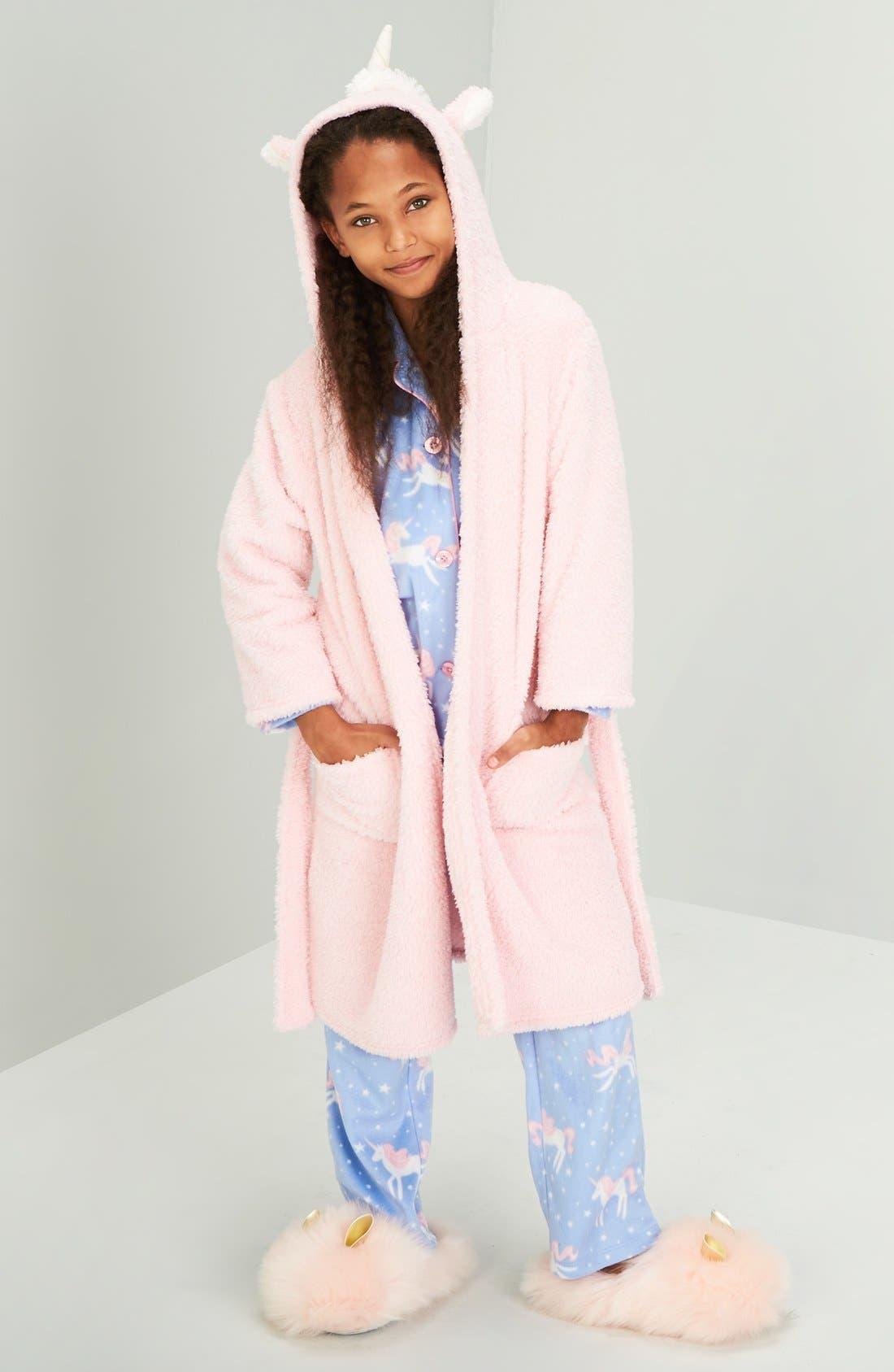 Alternate Image 2  - PJ Salvage Unicorn Hooded Robe (Little Girls & Big Girls)