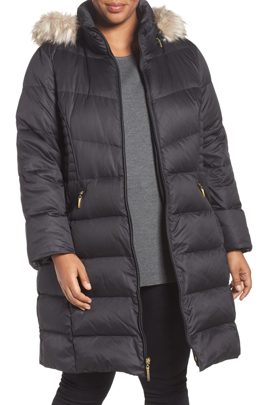 Main Image - Ellen Tracy Faux Fur Trim Down Coat