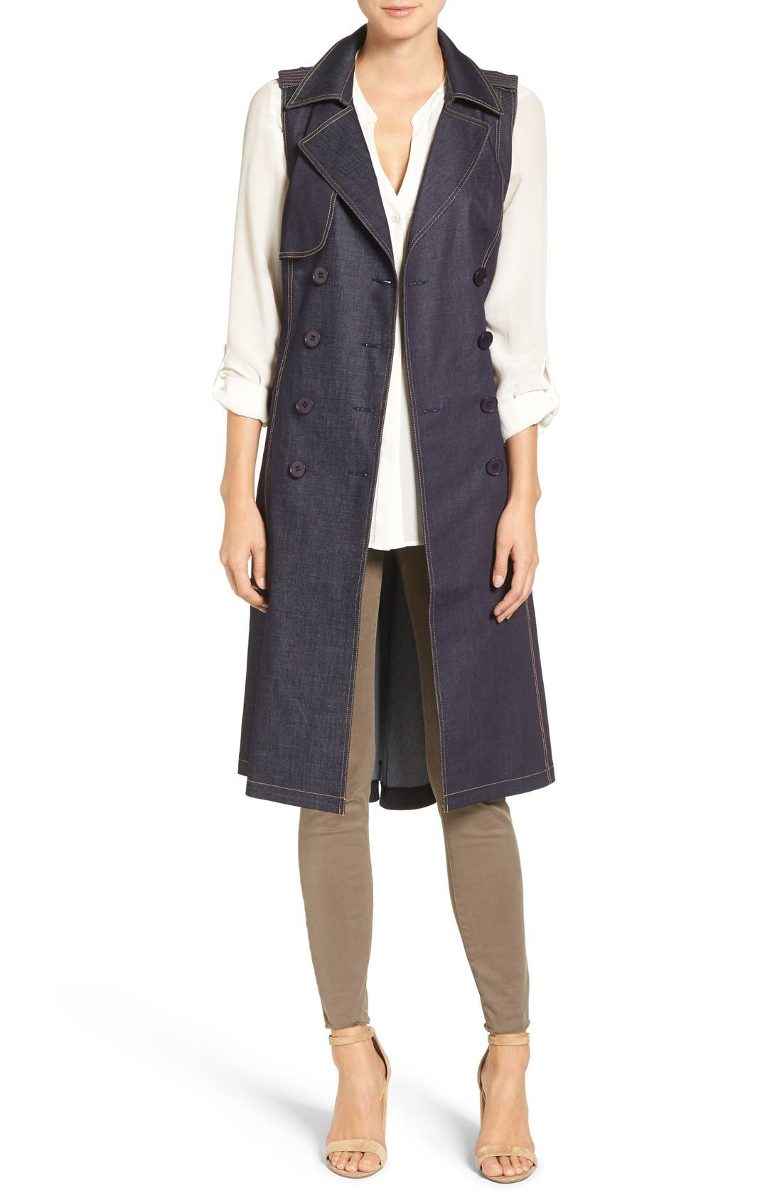 CHELSEA28 Sleeveless Denim Trench Coat
