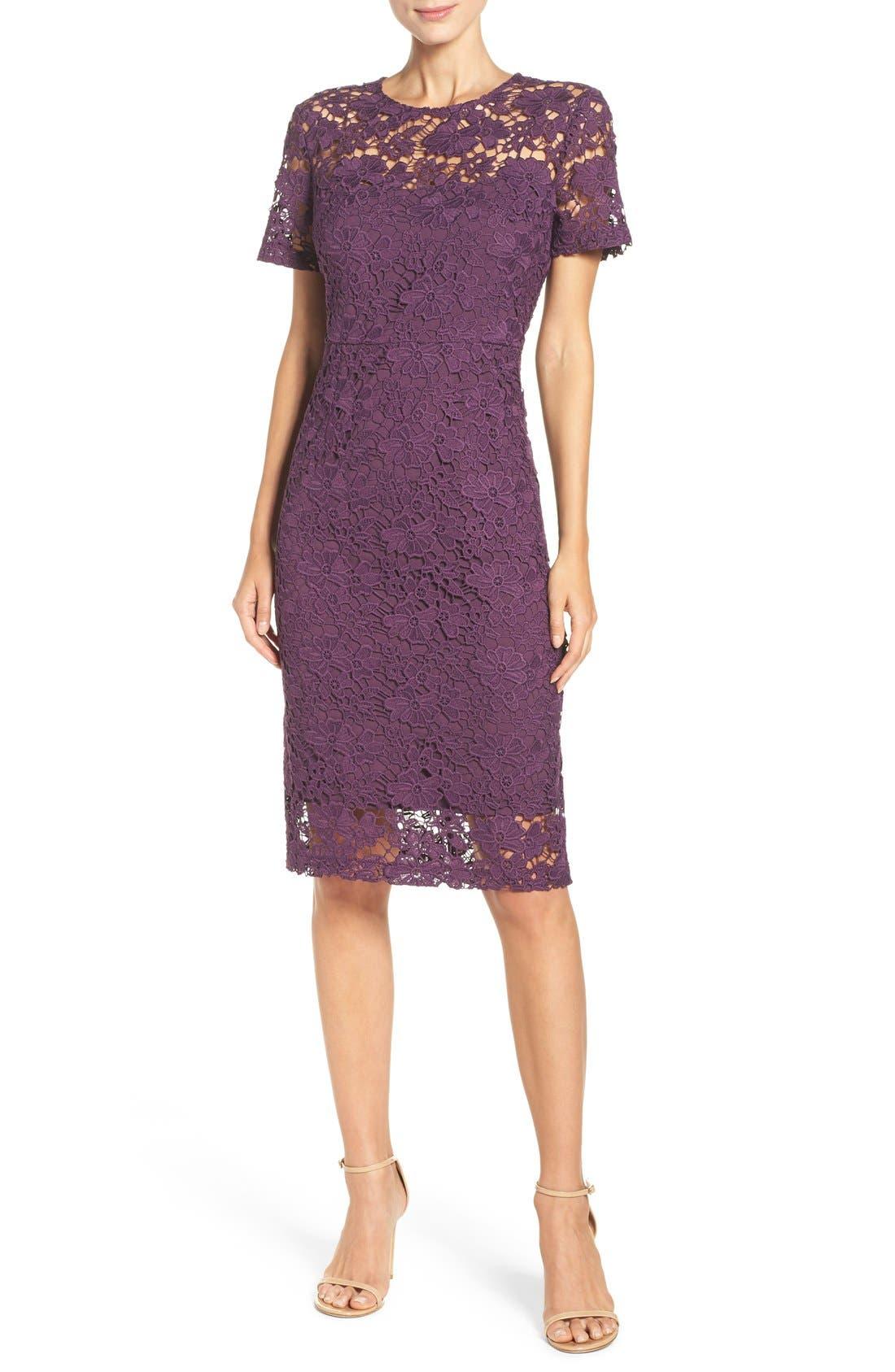 Alternate Image 1 Selected - Donna Morgan Lace Sheath Dress (Regular & Petite)