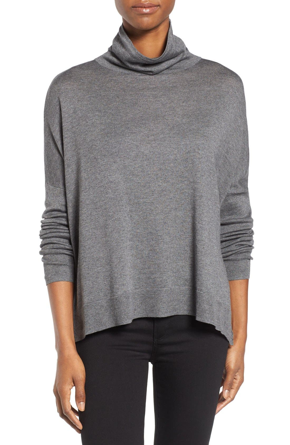 Press Drop Shoulder Turtleneck Top