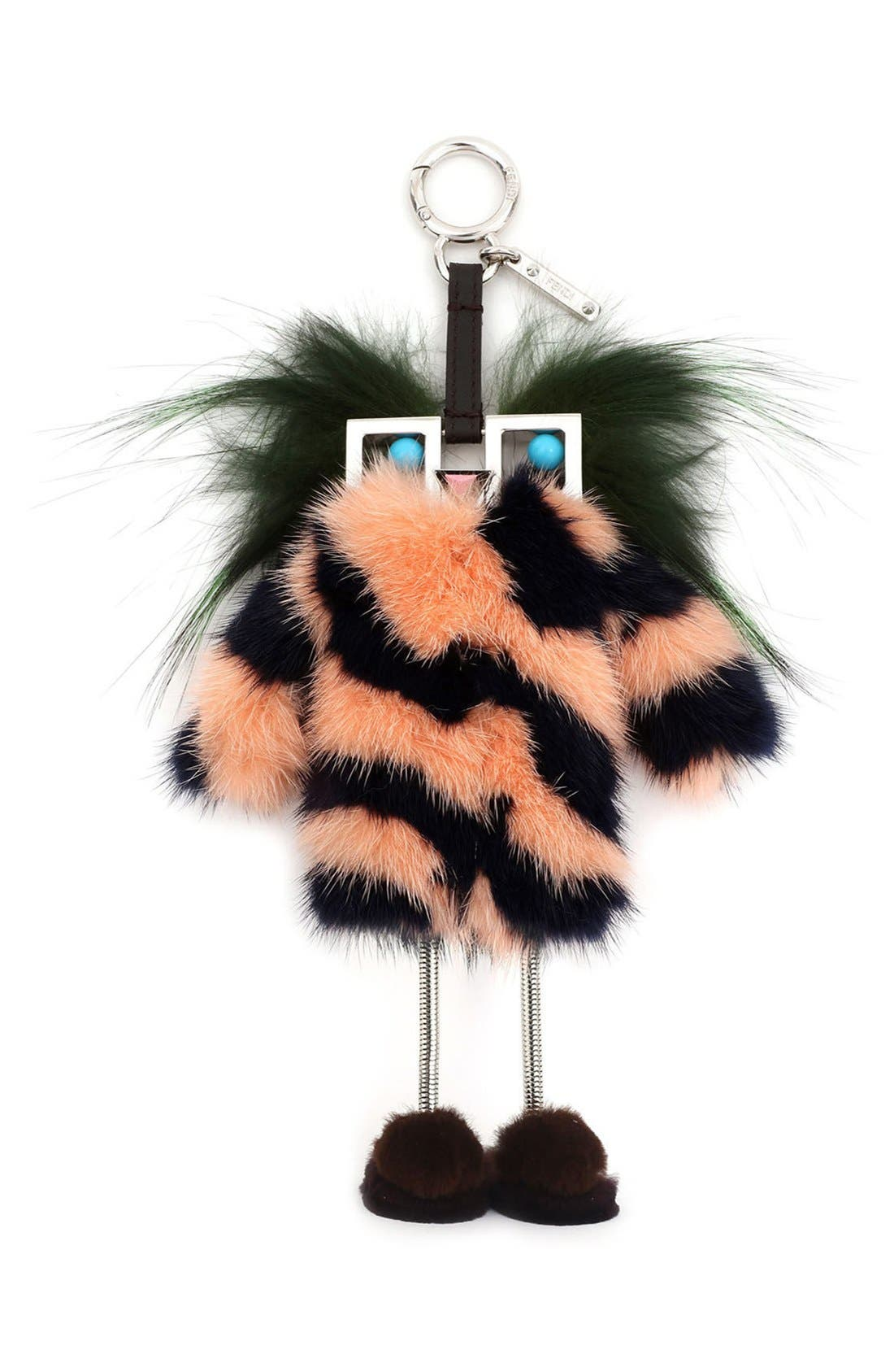 Alternate Image 1 Selected - Fendi Faces Hypnoteyes Genuine Fur Bag Charm with Slippers