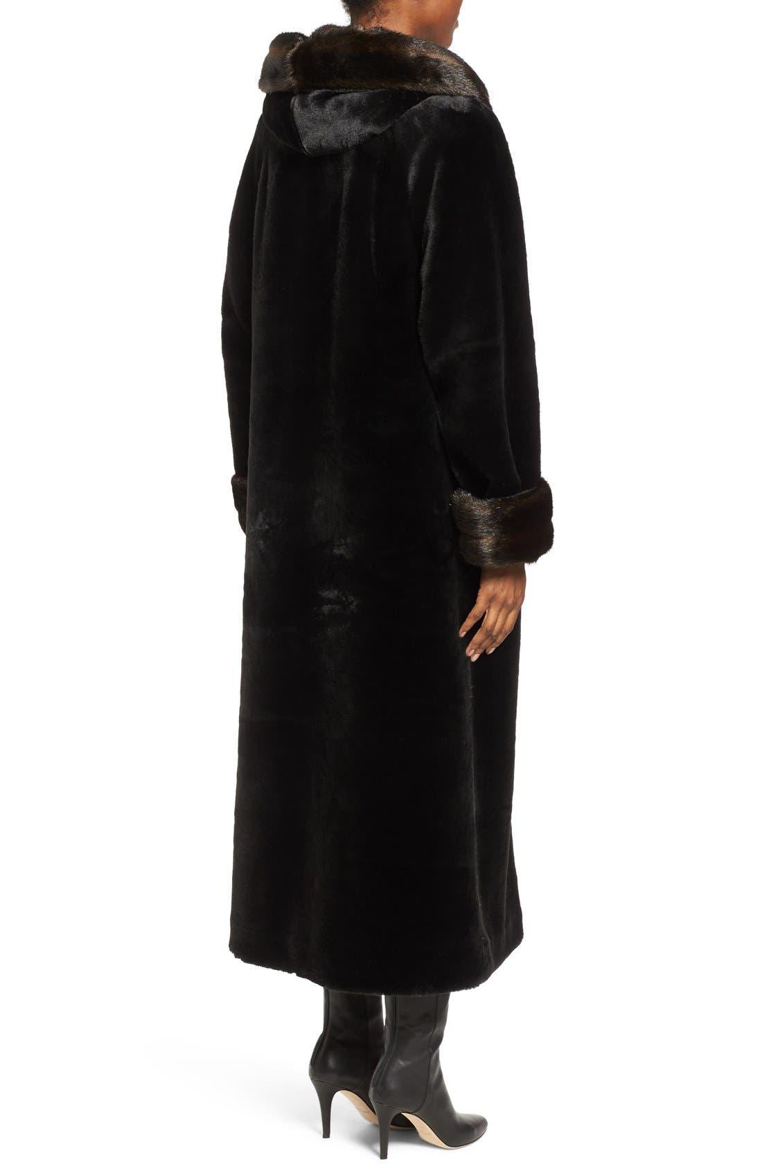 Alternate Image 2  - Gallery Hooded Full-Length Faux Fur Coat