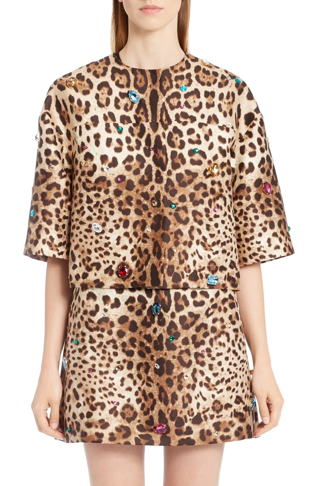 DOLCE&GABBANA Embellished Leopard Print Mikado Jacket
