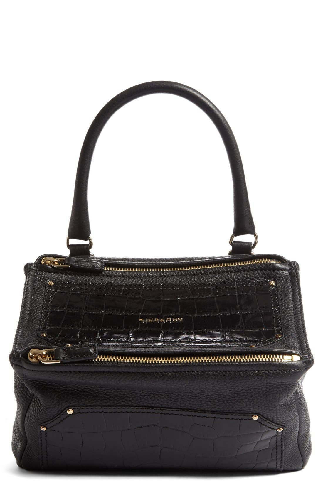 GIVENCHY Medium Pandora Croc Embossed Leather Satchel