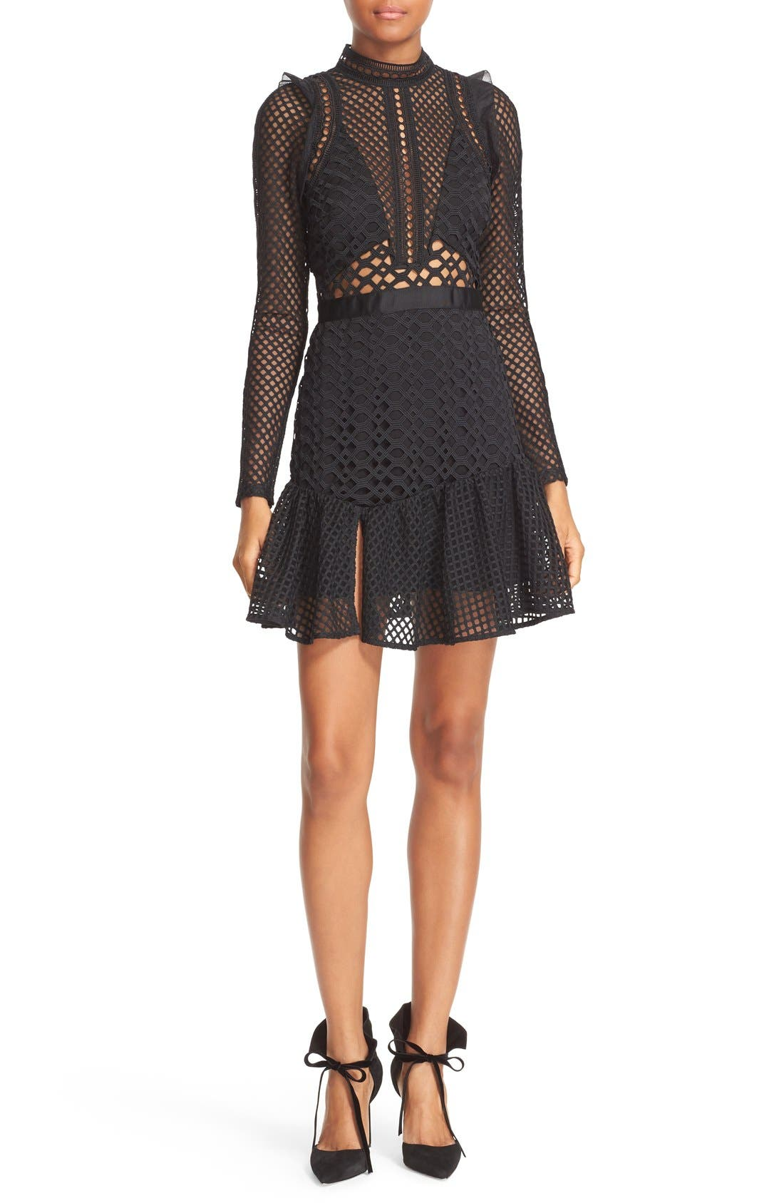 Alternate Image 1 Selected - Self-Portrait Hall Lace Mesh Minidress