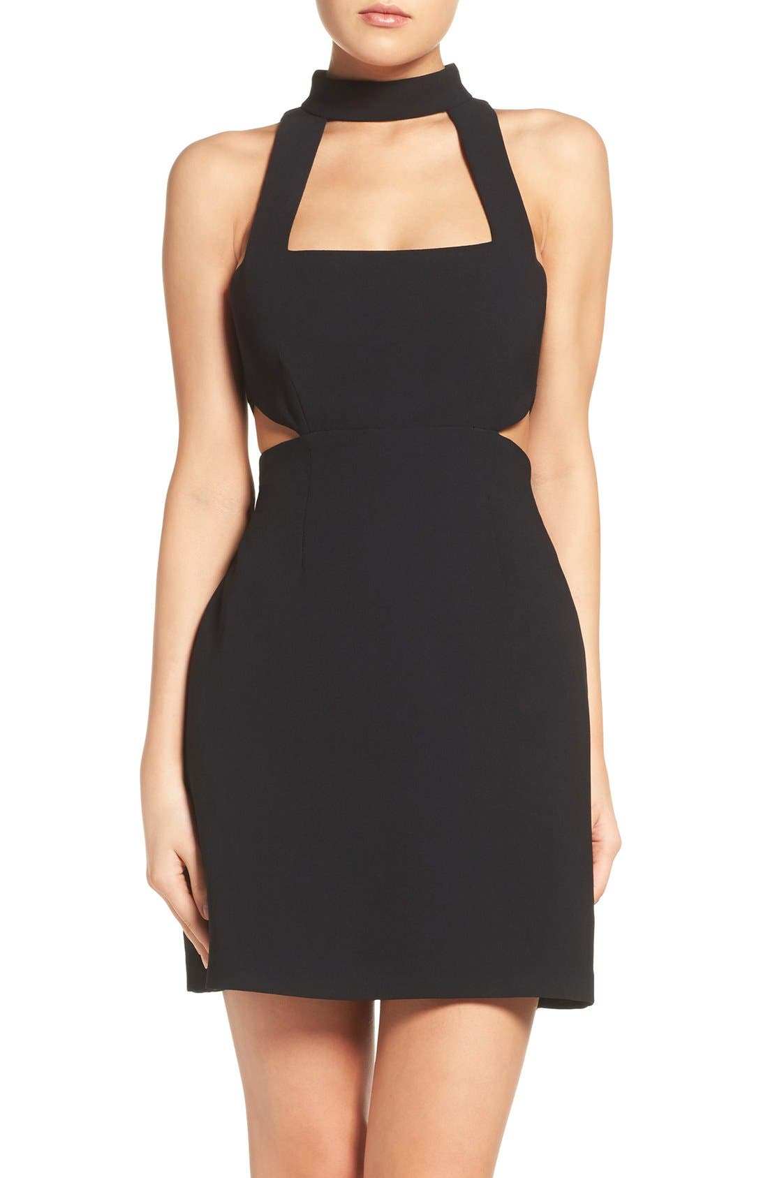 Jill Jill Stuart High Neck Cutout Crepe Dress
