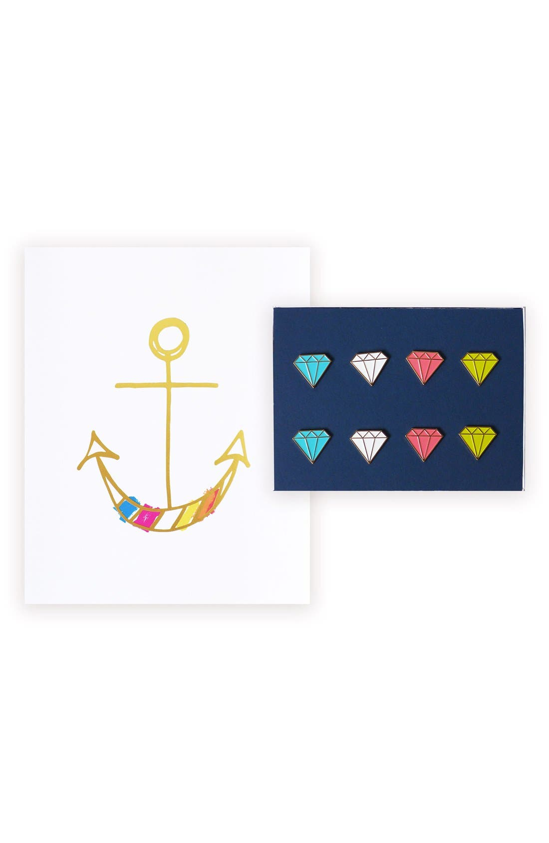 lake + loft Anchor Print & Jewel Pushpins Set