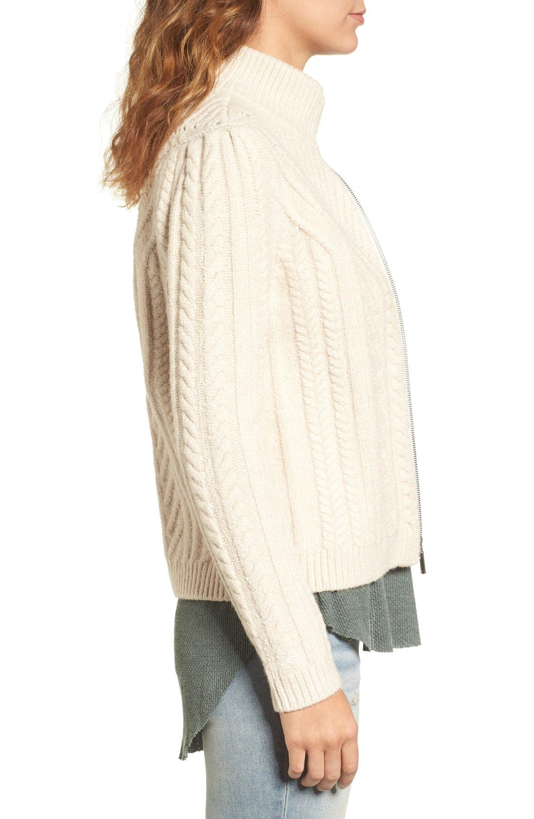 Alternate Image 4  - Hinge Cable Knit Zip Cardigan