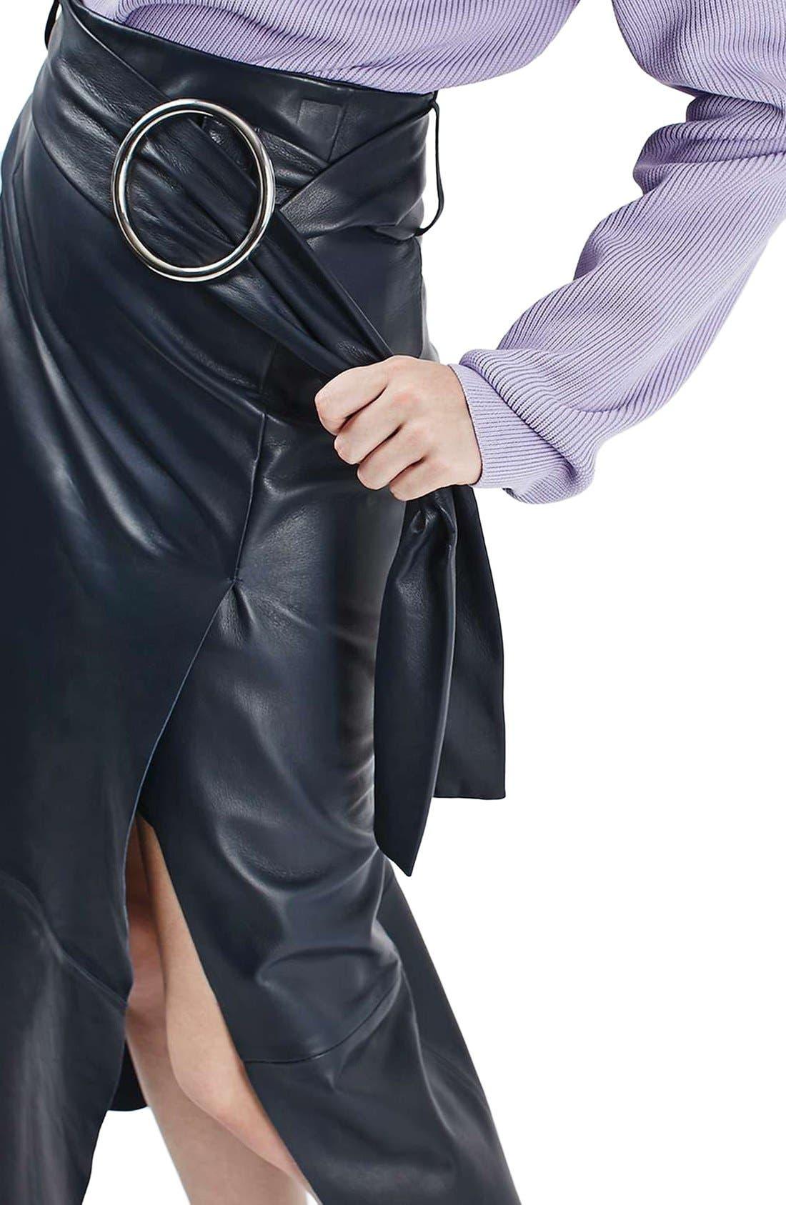 Alternate Image 4  - Topshop Boutique Belted Leather Skirt