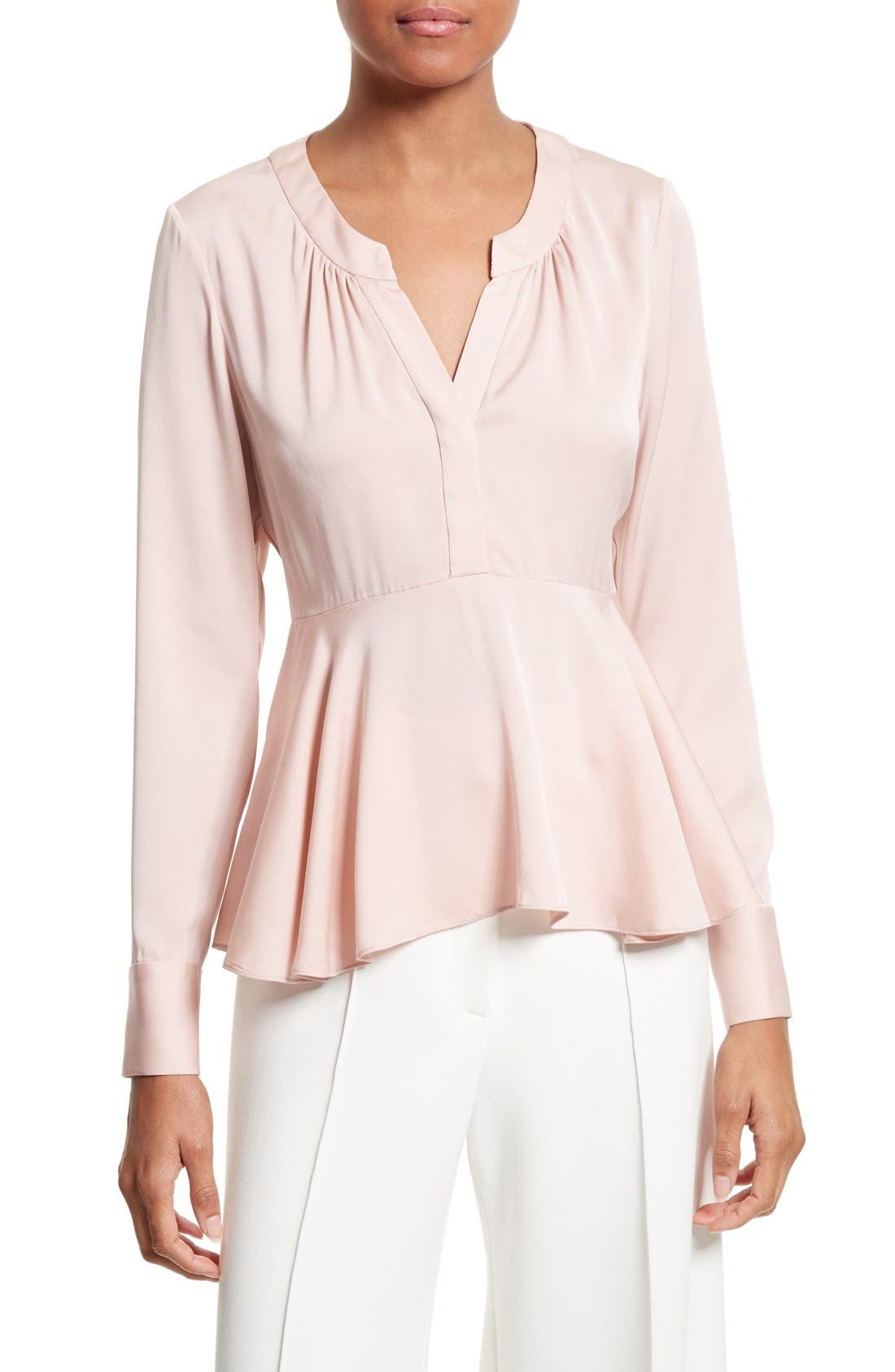 Alternate Image 1 Selected - Milly Brooke Stretch Silk Blouse