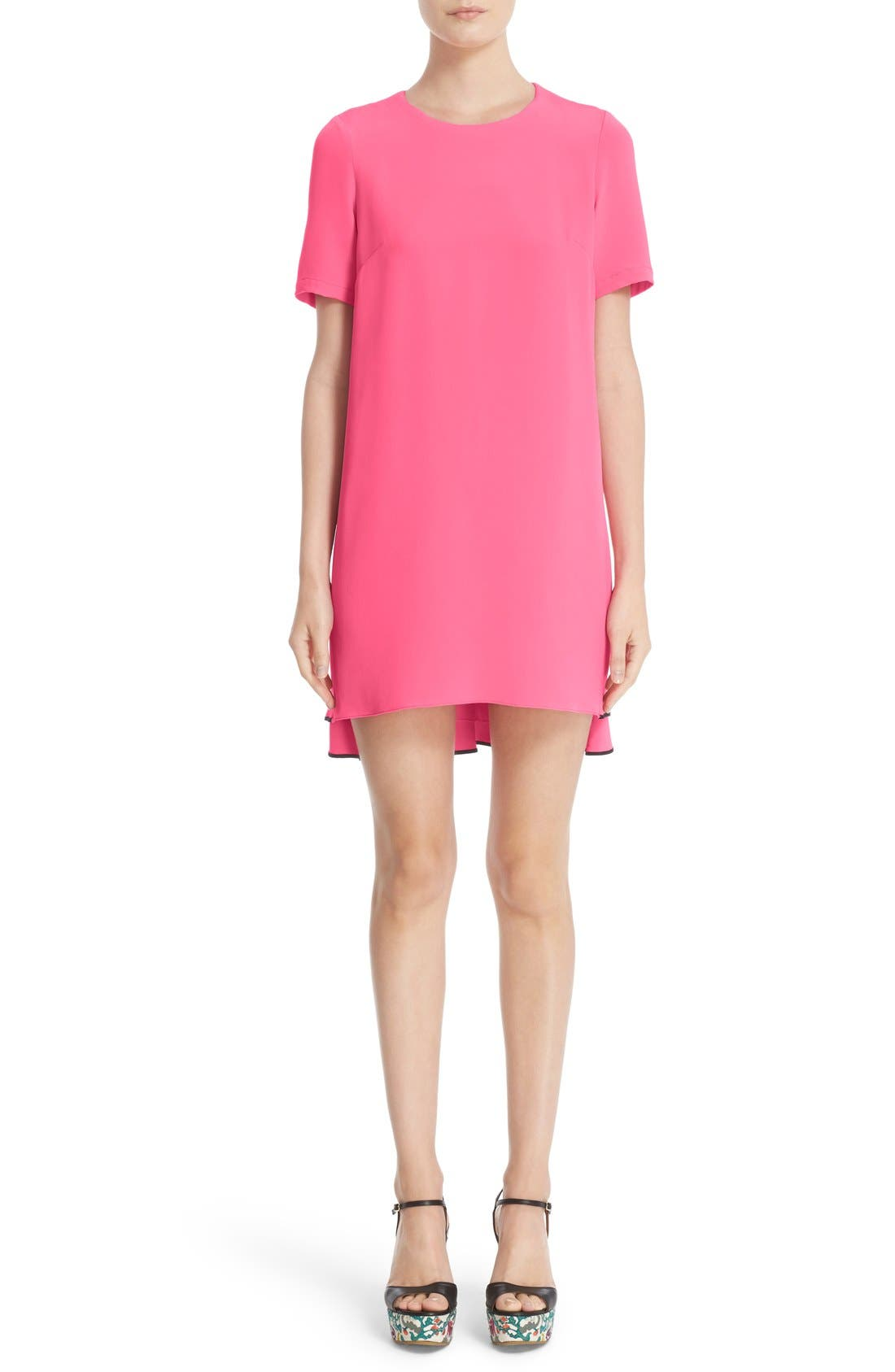 ADAM LIPPES Contrast Piping Satin Crepe Dress