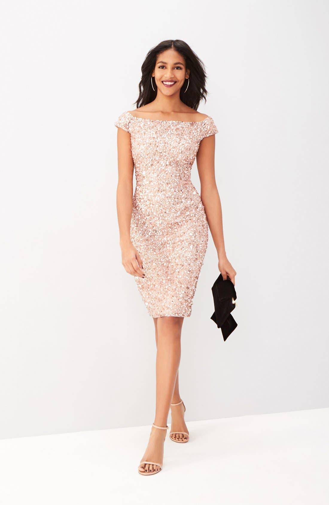 Alternate Image 2  - Adrianna Papell Off the Shoulder Sequin Sheath Dress (Regular & Petite)
