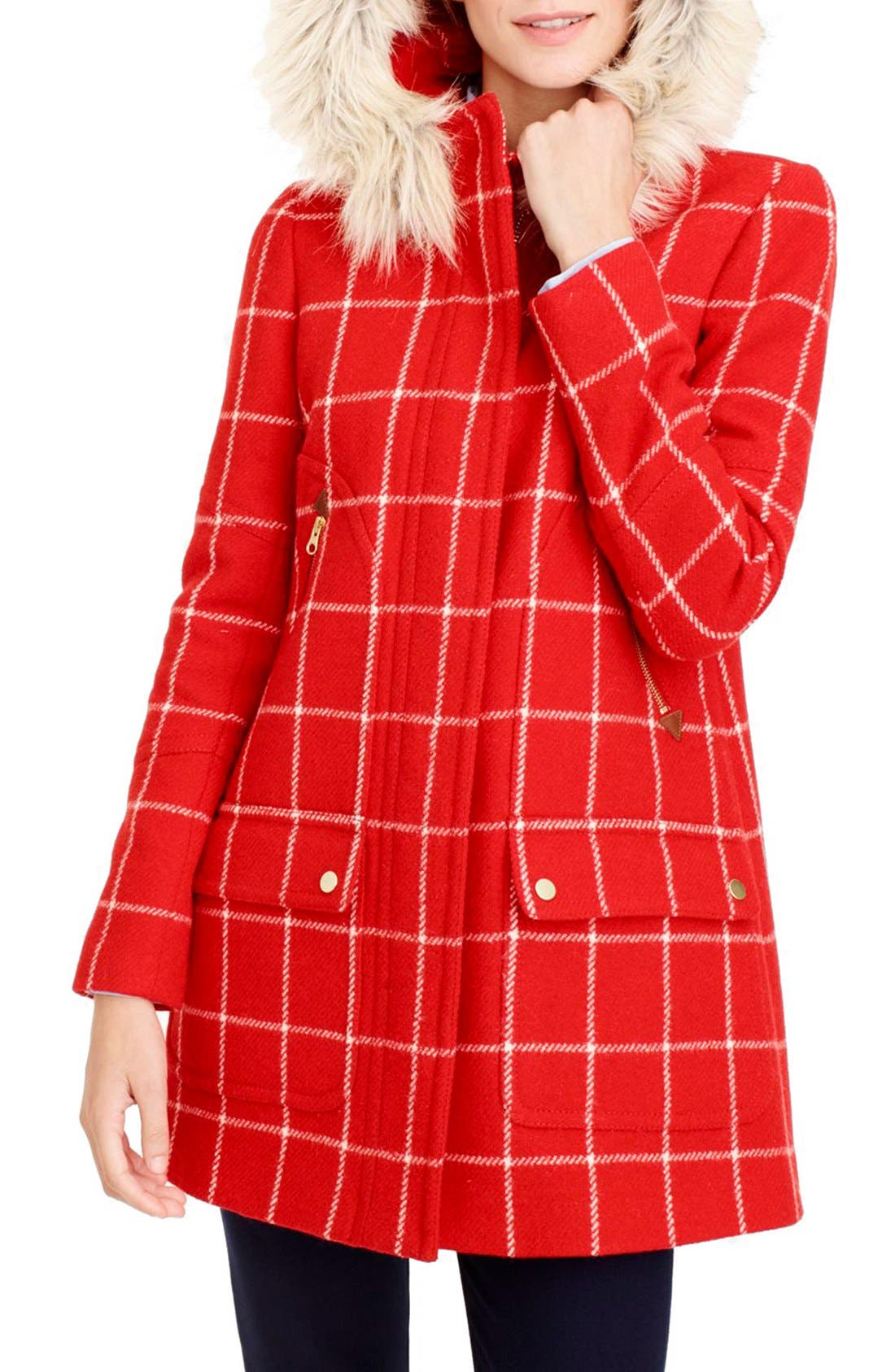 Alternate Image 1 Selected - J.Crew Windowpane Check Chateau Parka (Regular and Petite)