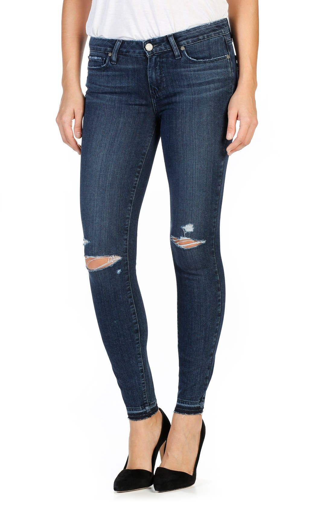 PAIGE Transcend Verdugo Ripped Ankle Skinny Jeans (Lani Destructed)