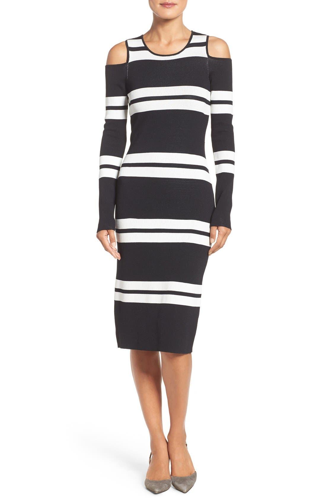 Main Image - Eliza J Stripe Midi Dress (Regular & Petite)