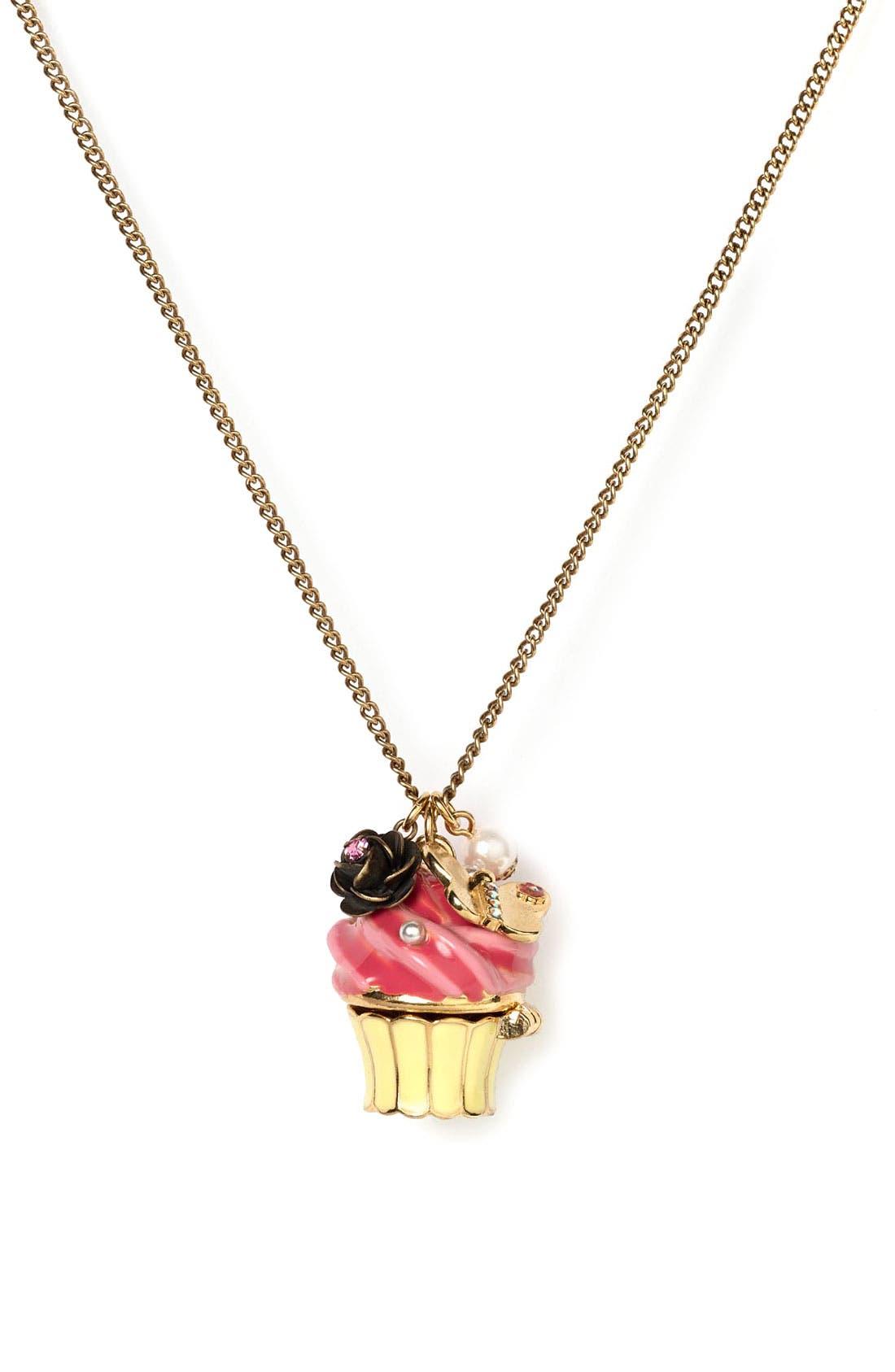 Main Image - Betsey Johnson Cupcake Pendant Necklace