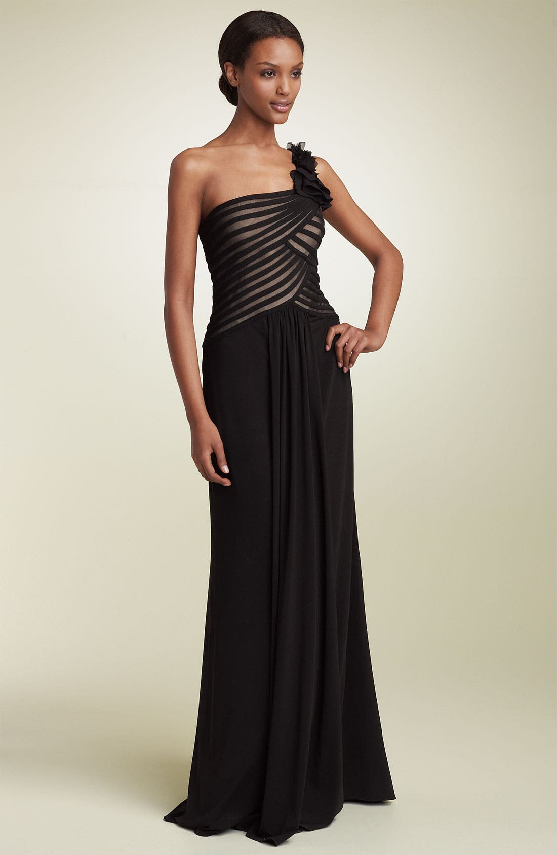 Main Image - JS Collections One Shoulder Mesh & Jersey Gown