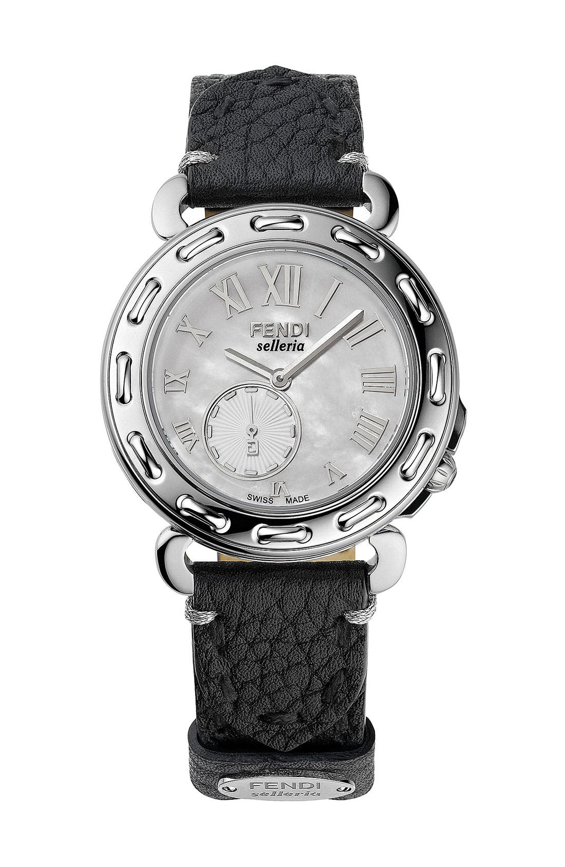 Alternate Image 3  - Fendi 'Selleria' Mother-of-Pearl Watch Case, 46mm