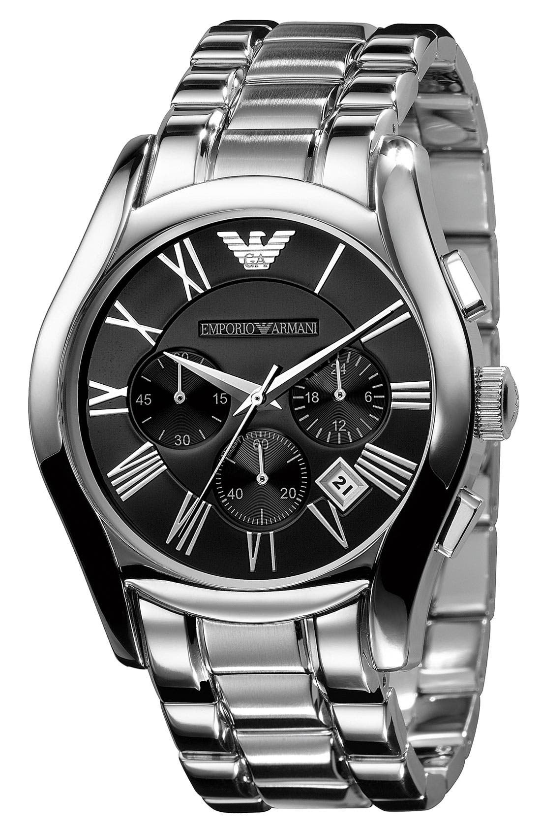 Alternate Image 2  - Emporio Armani Stainless Steel Chronograph Watch, 43mm