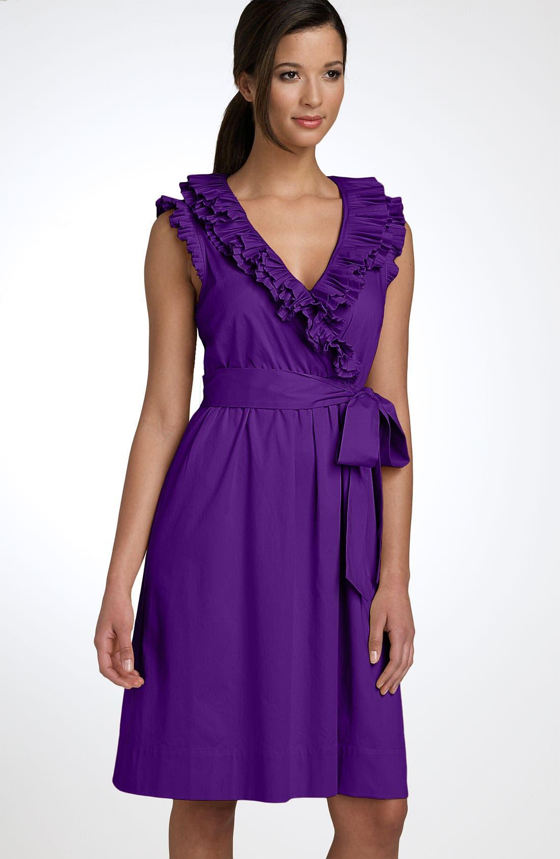 Alternate Image 1 Selected - Max & Cleo Pleated Ruffle Wrap Dress