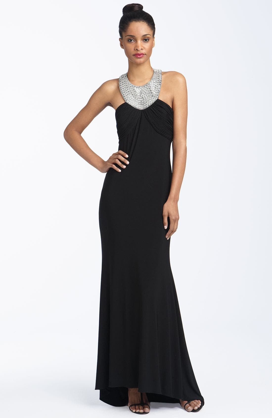 Alternate Image 1 Selected - JS Boutique Beaded Jersey Halter Gown