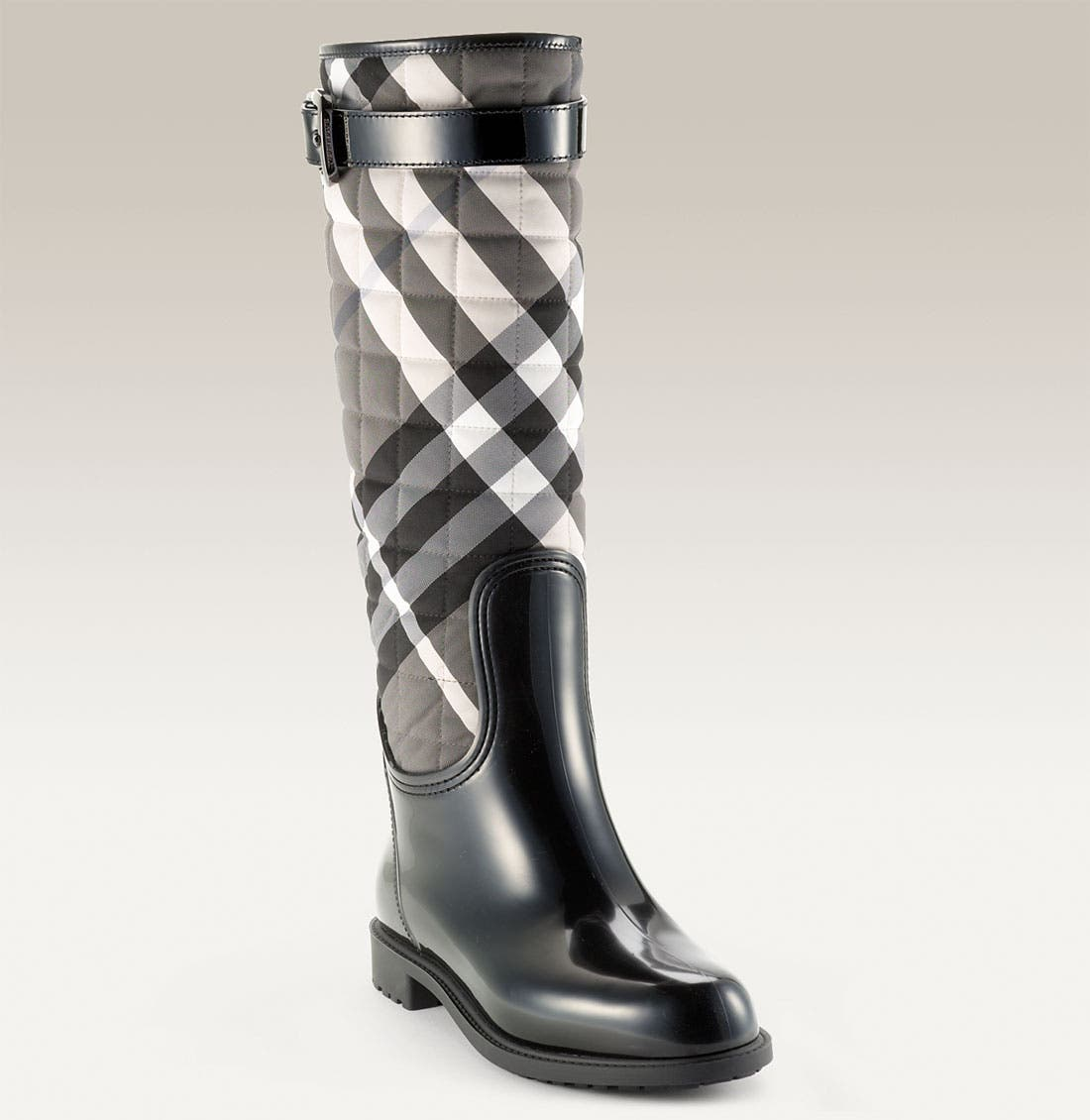 Main Image - Burberry Quilted Check Print Rain Boot