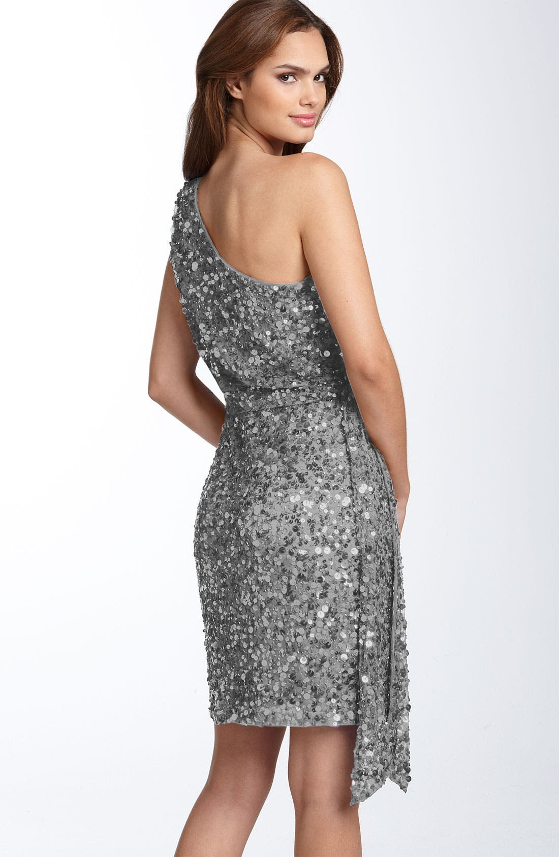 Alternate Image 2  - Aidan Mattox Sequin One Shoulder Dress