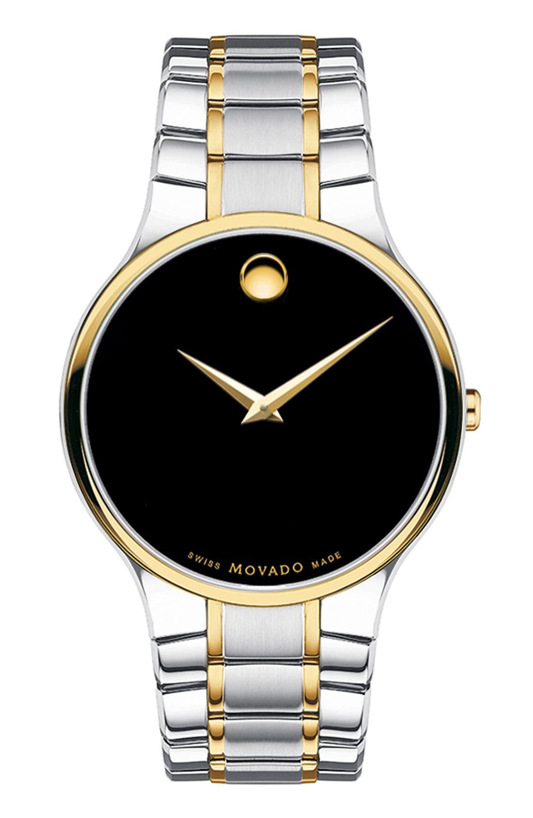 Alternate Image 1 Selected - Movado 'Serio' Men's Two Tone Bracelet Watch, 38mm