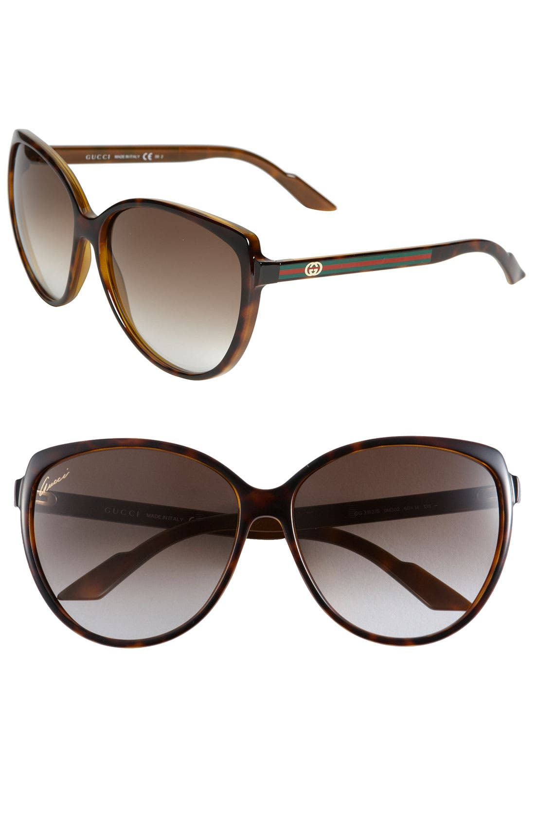 Alternate Image 1 Selected - Gucci Stripe 60mm Cat Eye Sunglasses (Online Only)