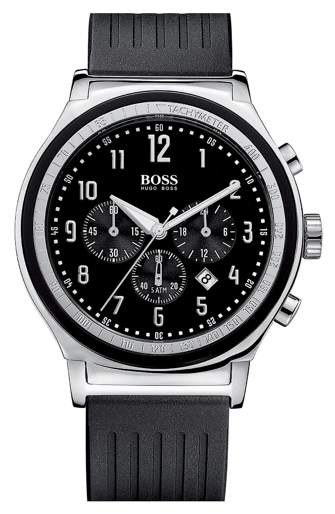 Main Image - BOSS HUGO BOSS Rubber Strap Chronograph Watch, 44mm