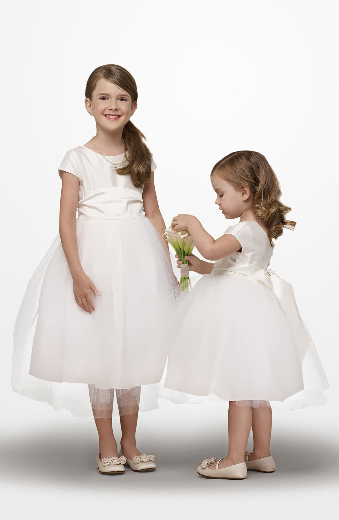 Alternate Image 1 Selected - Us Angels Silk & Tulle Dress (Toddler & Big Girls)