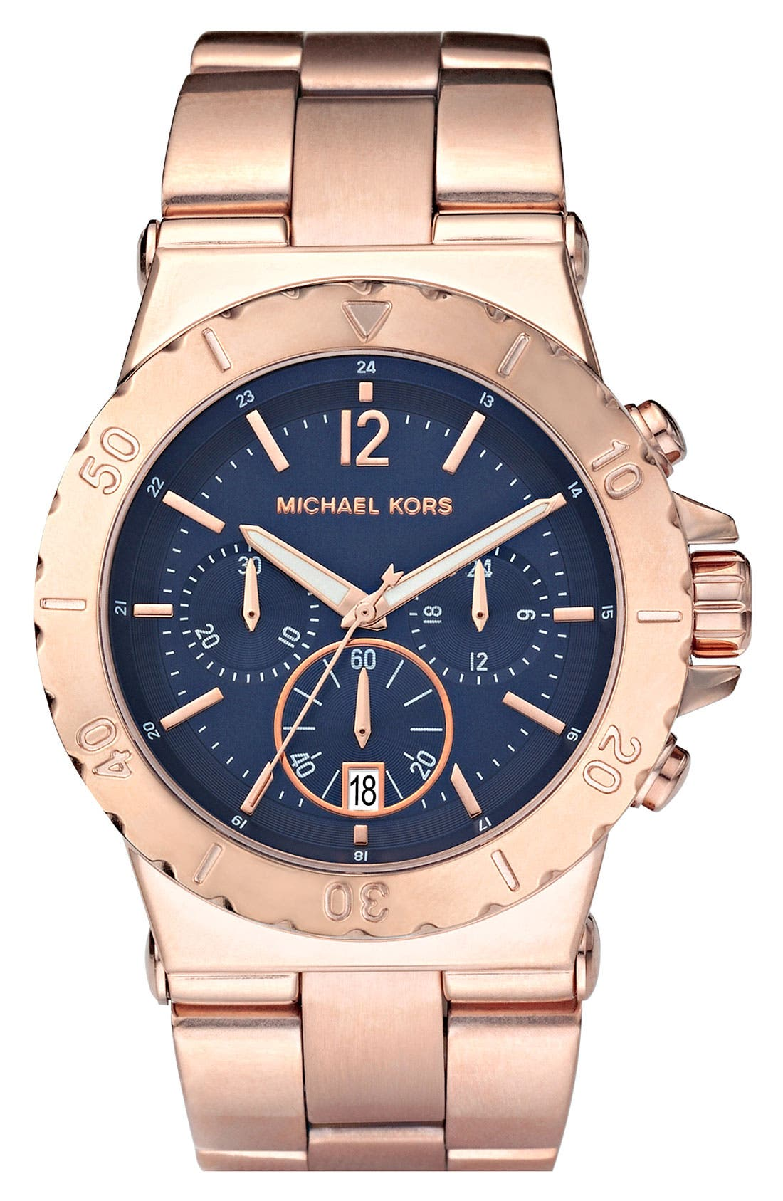 Alternate Image 1 Selected - Michael Kors Chronograph Blue Dial Watch, 43mm