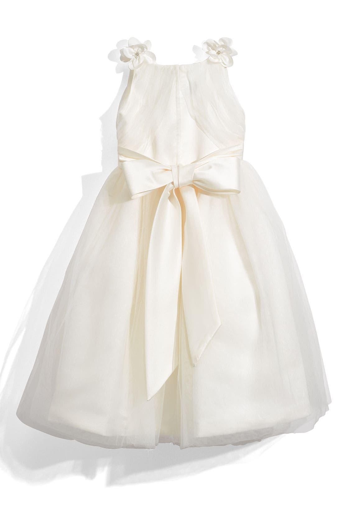 Alternate Image 2  - Joan Calabrese for Mon Cheri 'Illusion' Sleeveless Satin Dress (Little Girls & Big Girls)