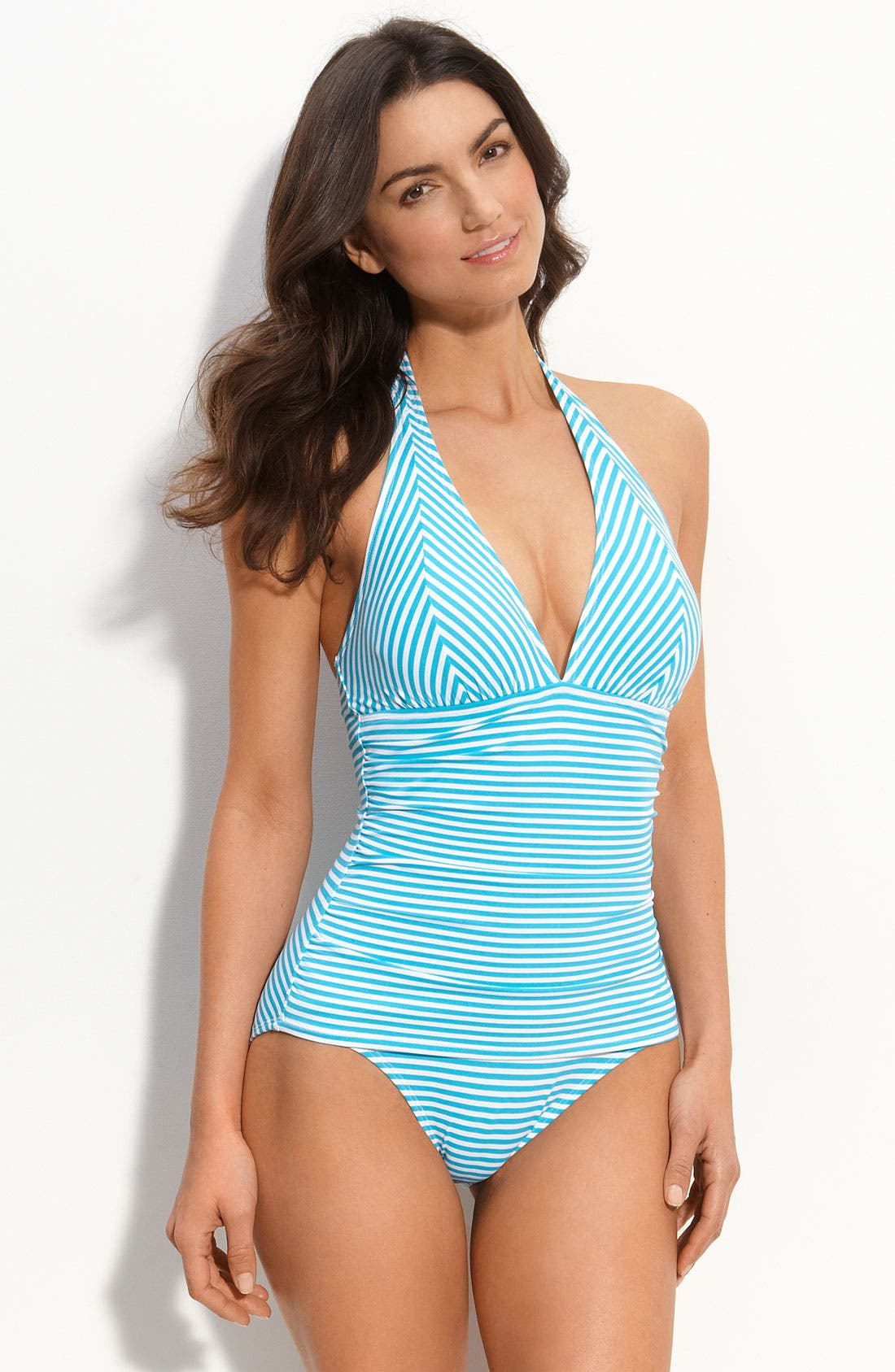 Main Image - Tommy Bahama Oxford Stripe Halter Swimsuit