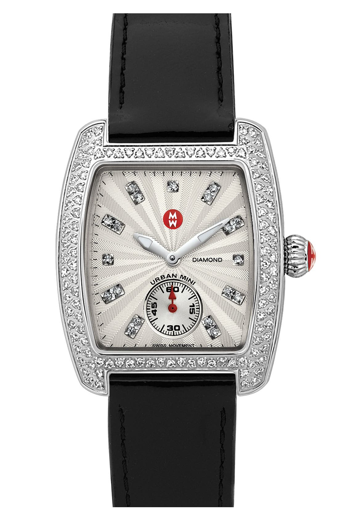 Alternate Image 1 Selected - MICHELE 'Urban Mini Diamond' Diamond Dial Watch Case & 16mm Black Patent Leather Strap
