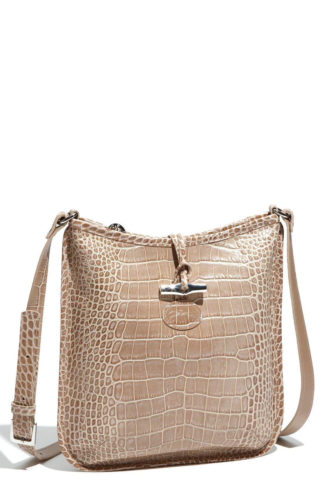 Main Image - Longchamp 'Roseau' Croc Embossed Crossbody Bag