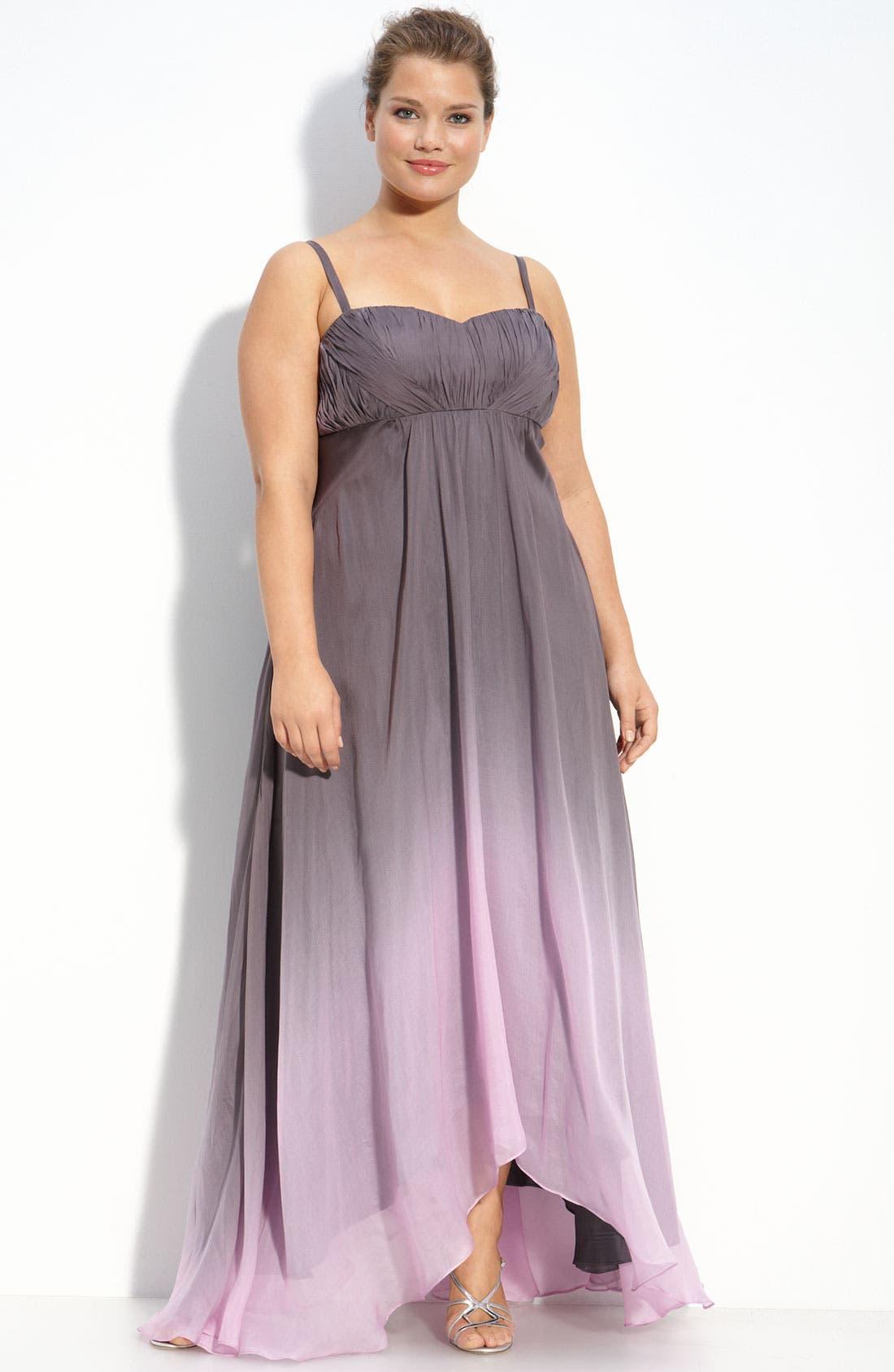 Main Image - JS Collections Ombré Chiffon Gown (Plus)