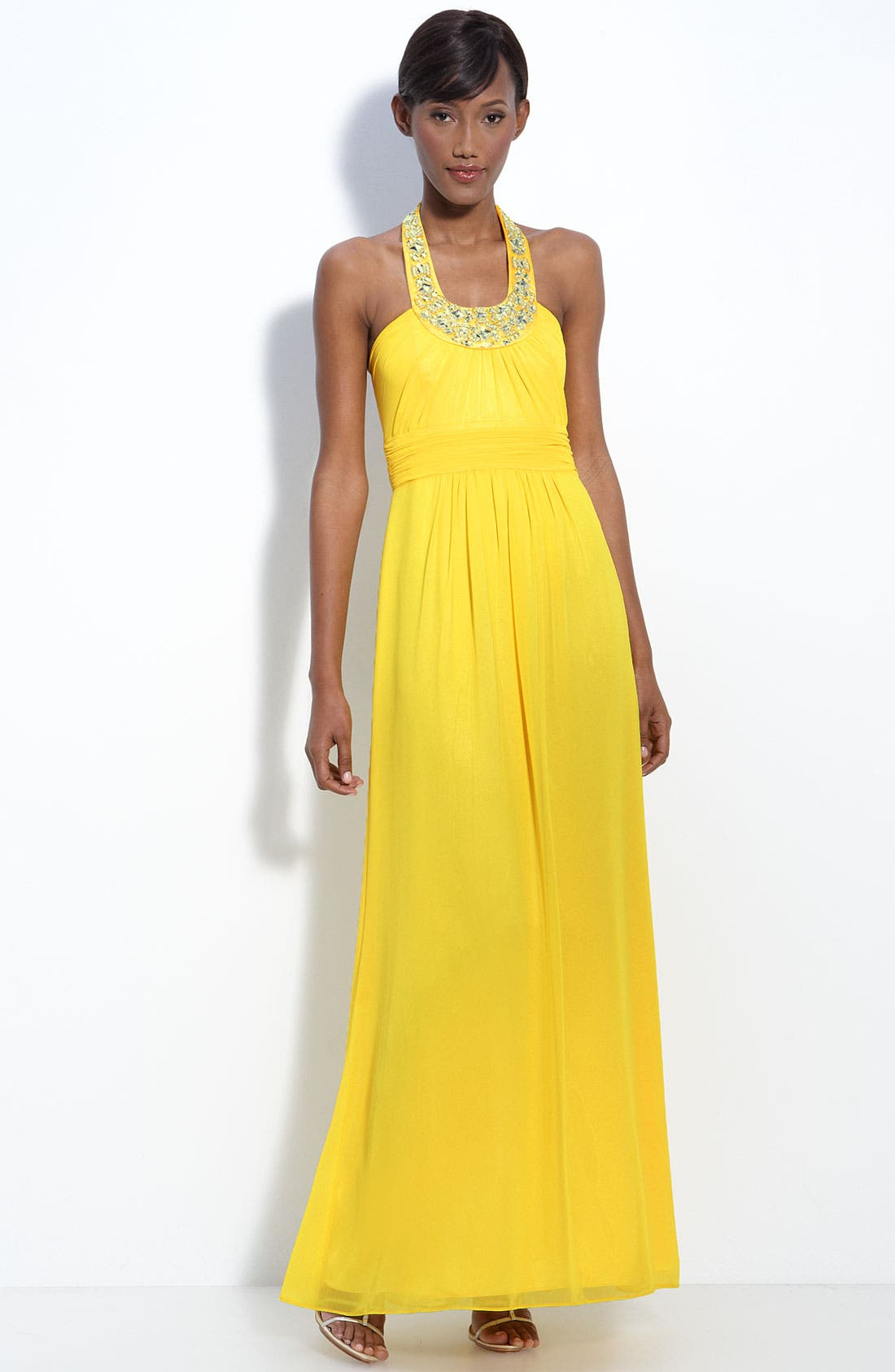 Alternate Image 1 Selected - Laundry by Shelli Segal Beaded Chiffon Halter Gown