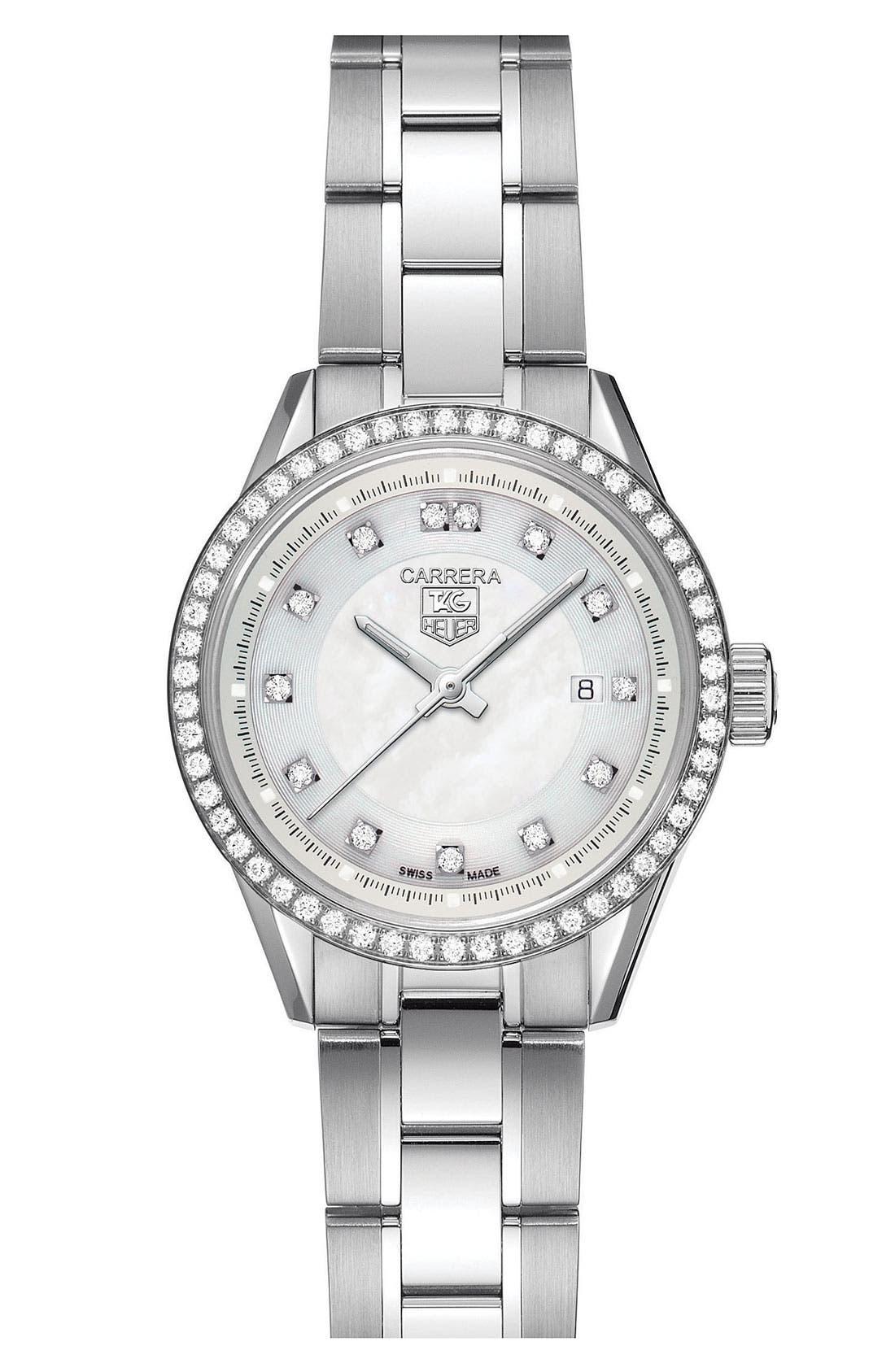 Alternate Image 1 Selected - TAG Heuer 'Carrera' Diamond Dial Watch