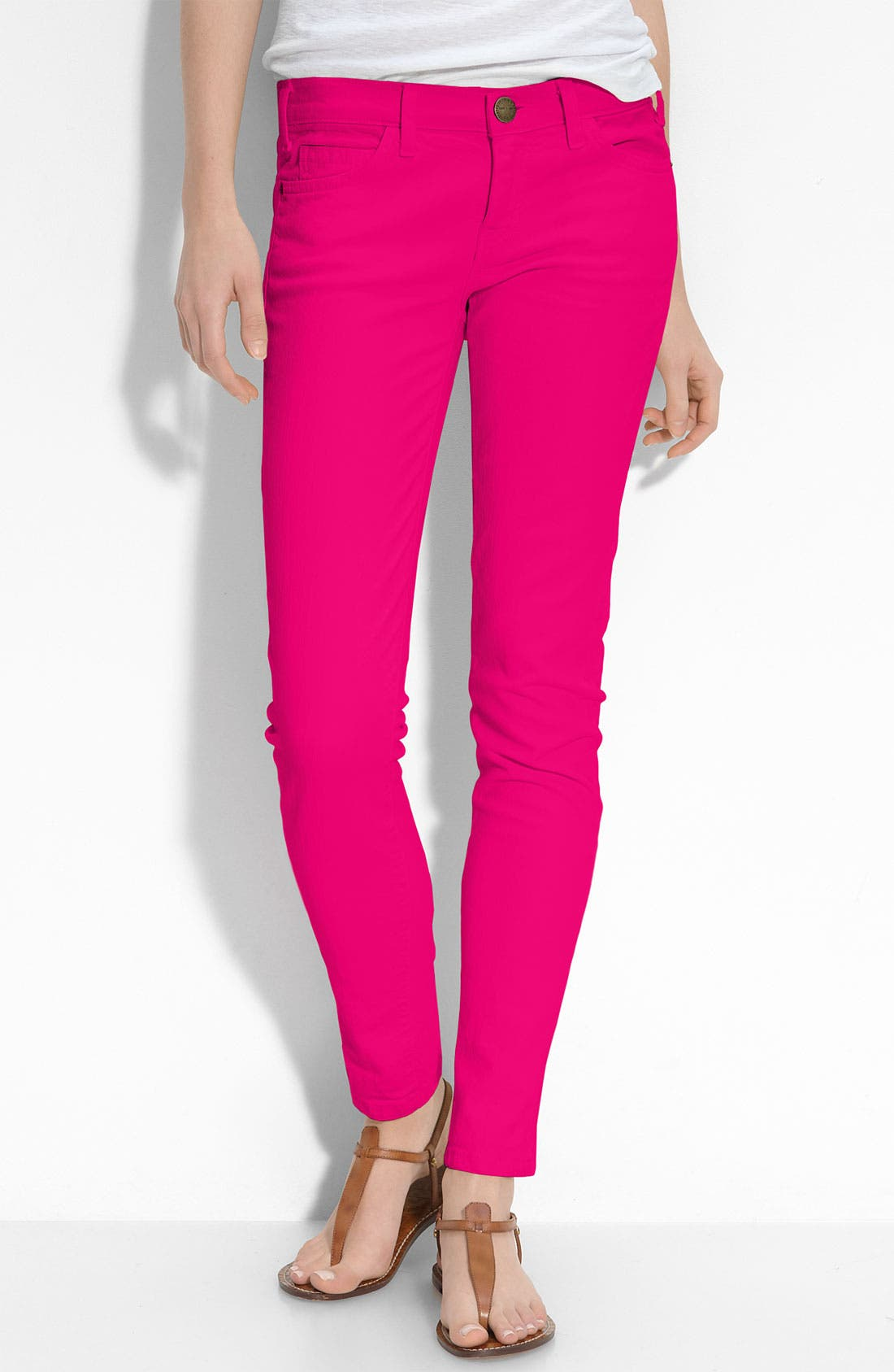 Main Image - Current/Elliott Skinny Stretch Ankle Jeans (Bright Rose Wash)