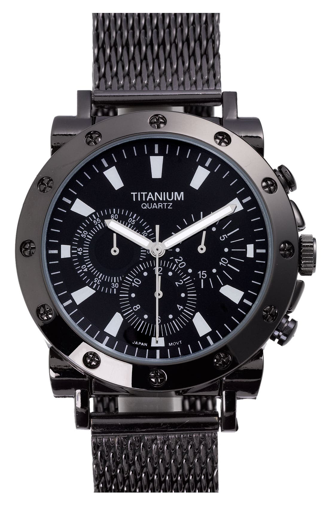 Alternate Image 1 Selected - Titanium Chronograph Watch with Mesh Band