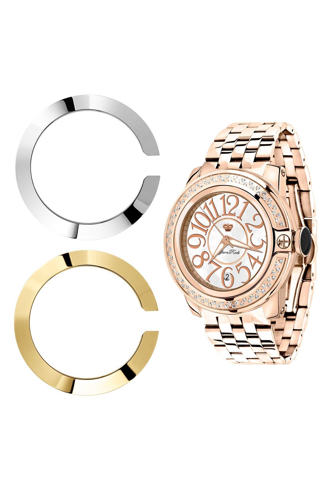 Alternate Image 2  - Glam Rock 'So Be Diamond' Rose Gold Bracelet Watch