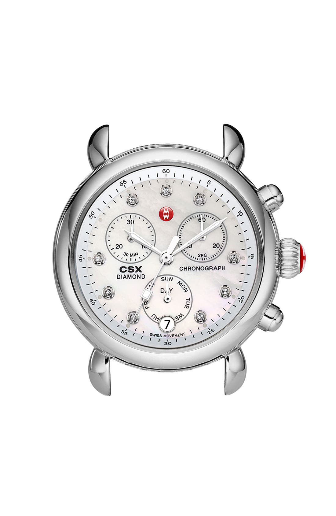 Alternate Image 1 Selected - MICHELE 'CSX-36' Diamond Dial Watch Case & 18mm White Patent Leather Strap